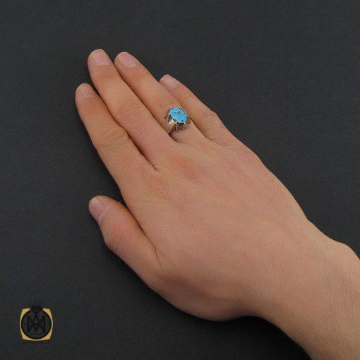 انگشتر فیروزه نیشابوری مردانه دست ساز– کد 10504 - 5 14 510x510
