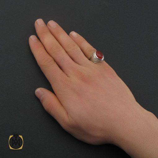 انگشتر عقیق یمن خوش رنگ مردانه دست ساز - کد 10629 - 5 161 510x510