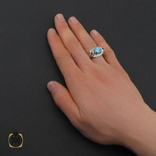 انگشتر فیروزه نیشابوری خوش طبع مردانه طرح صفوی - کد 10643 - 5 175 510x510