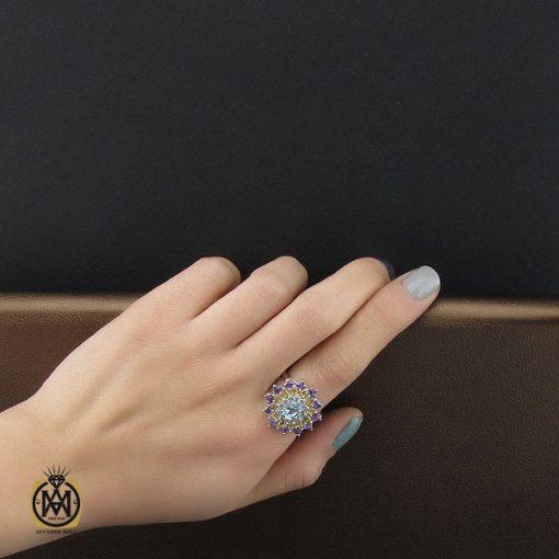 انگشتر آمتیست، سیترین و توپاز آبی طرح آترین زنانه – کد ۲۲۶۹
