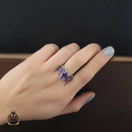 انگشتر آمتیست و یاقوت سرخ طرح پانیذ زنانه – کد ۲۲۷۴