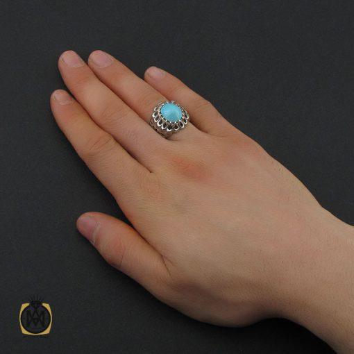 انگشتر فیروزه نیشابوری مردانه خوش رنگ هنر دست استاد احمدی - کد 10658 - 5 216 510x510