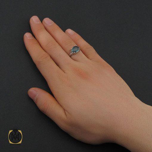 انگشتر توپاز آبی اسپرت دست ساز – کد ۱۰۶۶۲