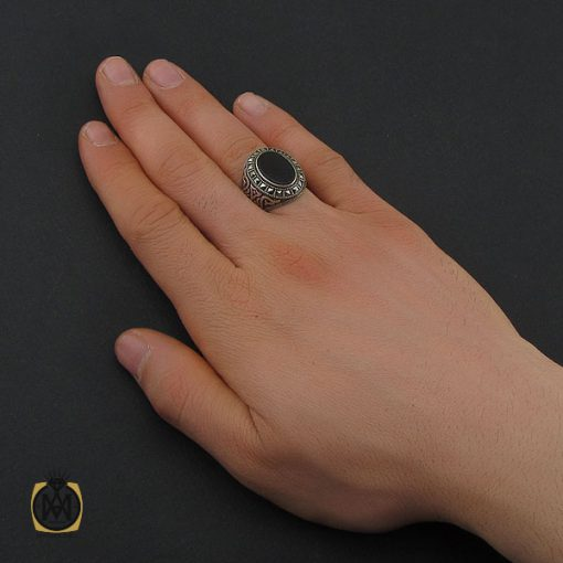 انگشتر عقیق مشکی مردانه - کد 10670 - 5 228 510x510