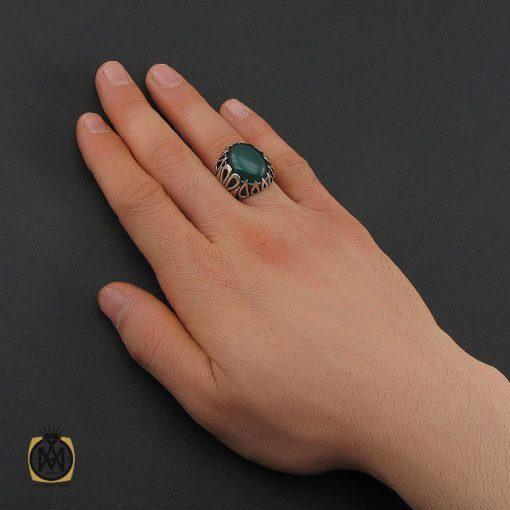 انگشتر عقیق سبز مردانه - کد 10687 - 5 244 510x510
