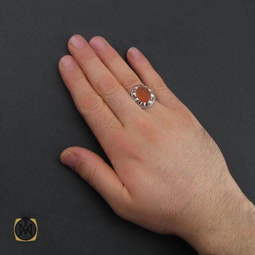 انگشتر عقیق یمن با حکاکی یا مونس کل وحید مردانه دست ساز – کد 10553 - 5 85 510x510