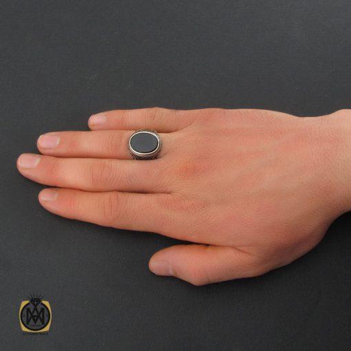 انگشتر عقیق مشکی مردانه اصل – کد ۱۰۸۰۳