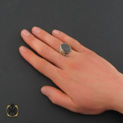 انگشتر عقیق مشکی مردانه