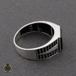 انگشتر عقیق مشکی مردانه - کد 10805