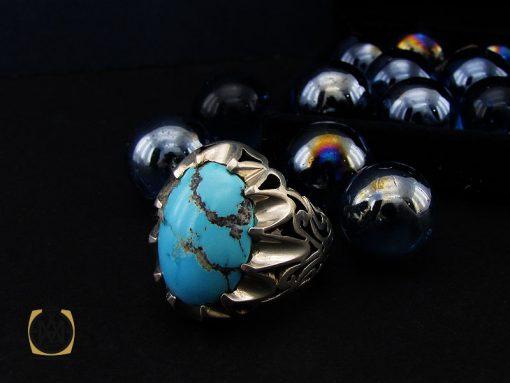 انگشتر فیروزه نیشابوری درشت و خوش رنگ مردانه - کد 10691 - 00 44 510x383