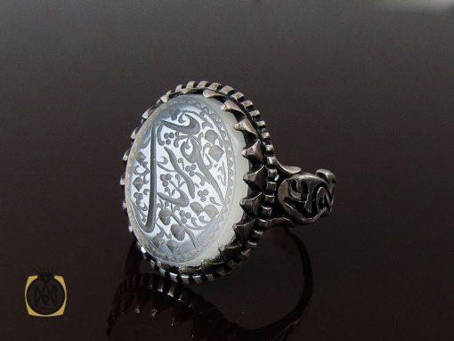 انگشتر عقیق یمن سفید با یا عزیز یا قوی مردانه - کد 10729 - 00 83 510x383