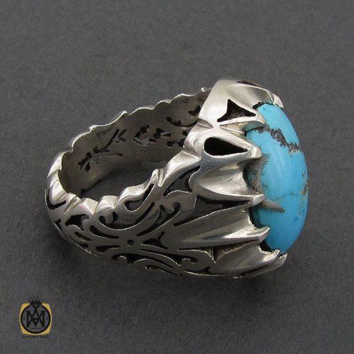 انگشتر فیروزه نیشابوری درشت و خوش رنگ مردانه - کد 10691 - 2 30 510x510
