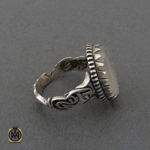 انگشتر عقیق یمن سفید با یا عزیز یا قوی مردانه - کد 10729 - 2 71 510x510