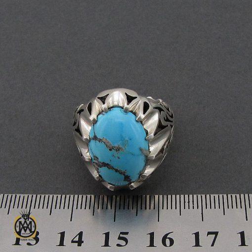 انگشتر فیروزه نیشابوری درشت و خوش رنگ مردانه - کد 10691 - 4 23 510x510