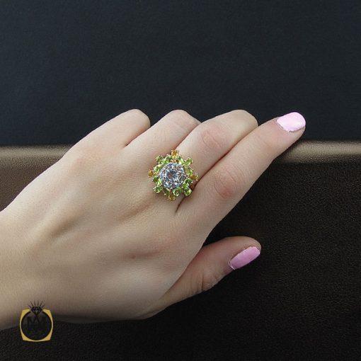 انگشتر زبرجد توپاز سیترین زنانه