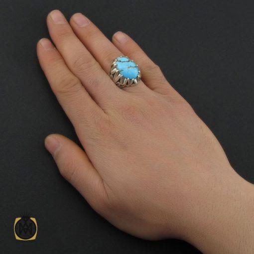 انگشتر فیروزه نیشابوری درشت و خوش رنگ مردانه - کد 10691 - 5 14 510x510