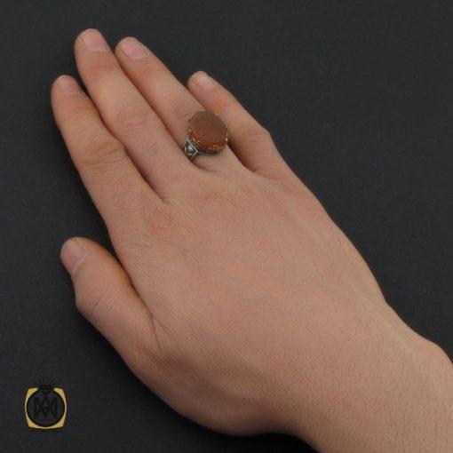 انگشتر عقیق یمن با حکاکی یا علی یا امیرالمومنین مردانه - کد 10720 - 5 42 510x510