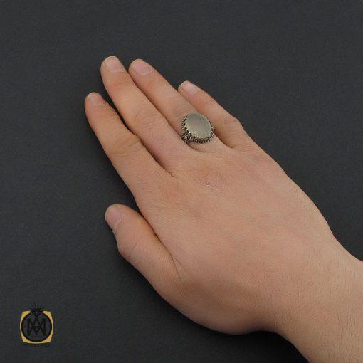 انگشتر عقیق یمن سفید با یا عزیز یا قوی مردانه - کد 10729 - 5 52 510x510