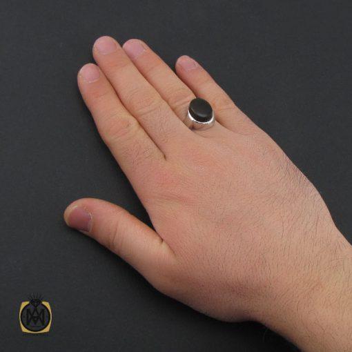انگشتر عقیق جزع یمن مردانه دست ساز - کد 10749
