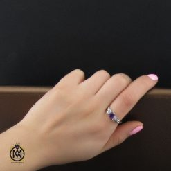 انگشتر آمتیست زنانه نقره