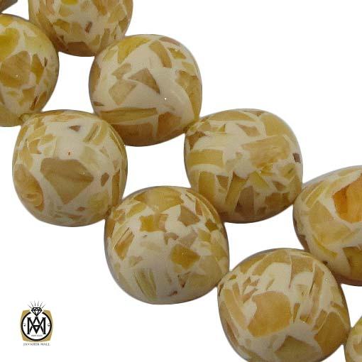 تسبیح ۳۳ دانه کهربا پودری درشت – کد ۴۳۶۳