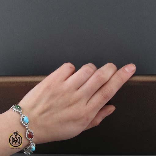 دستبند زمرد زامبیا، عقیق یمن، فیروزه نیشابوری طرح کیمیا زنانه - کد 1105 - دستبند زمرد عقیق فیروزه 5