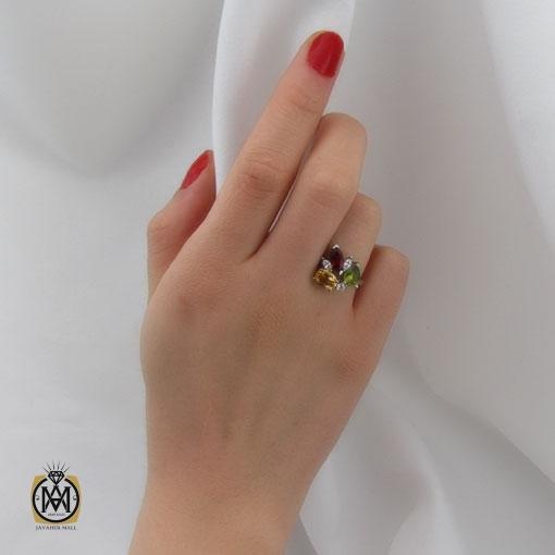 انگشتر چندنگین-زبرجد-گارنت-سیترین-زنانه