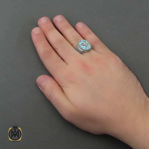 انگشتر فیروزه نیشابوری خوش رنگ مردانه - کد 10887 - انگشتر فیروزه نیشابوری مردانه 4 4