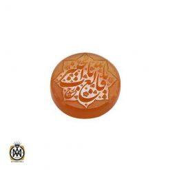 نگین تک عقیق یمن با حکاکی و من یتق الله اثر استاد ضابطی – کد ۹۰۲۴
