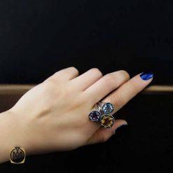 انگشتر چندنگین زنانه سیترین آمتیست توپاز