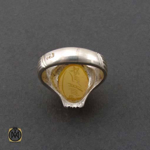 انگشتر عقیق زرد با حکاکی شرف الشمس مردانه – کد ۱۰۹۱۳