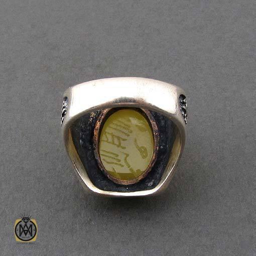 انگشتر عقیق زرد با حکاکی شرف الشمس مردانه – کد ۱۰۹۱۲