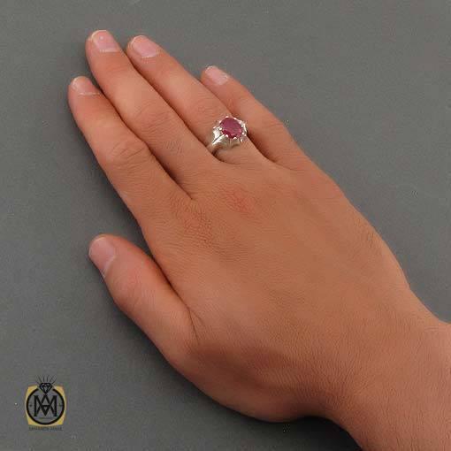 انگشتر یاقوت سرخ خوش رنگ مردانه رکاب هنر دست استاد صادقی – کد ۱۰۹۰۹