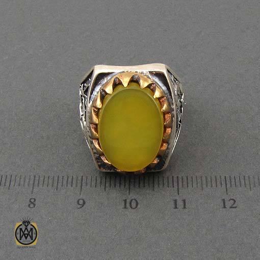 انگشتر عقیق زرد با حکاکی شرف الشمس مردانه - کد 10912 - شرف الشمس مردانه اصل 1