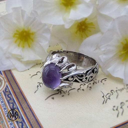 انگشتر آمتیست مرغوب و خوش رنگ مردانه – کد ۱۱۰۷۷