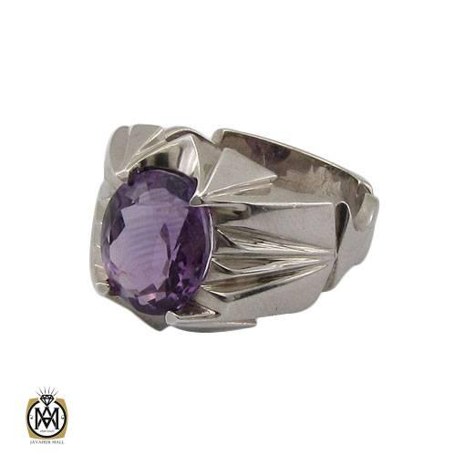 انگشتر آمتیست مرغوب و خوش رنگ دست ساز مردانه – کد ۱۱۰۷۳