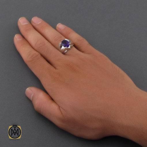 انگشتر آمتیست خوش رنگ و دست ساز مردانه – کد ۱۱۰۹۳