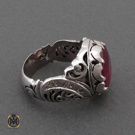 انگشتر یاقوت سرخ خوش رنگ و برلیان رکاب دست ساز مردانه – کد ۱۱۱۲۳