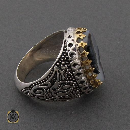انگشتر عقیق شجر طبیعی و خوش نقش مردانه – کد ۱۱۰۴۹