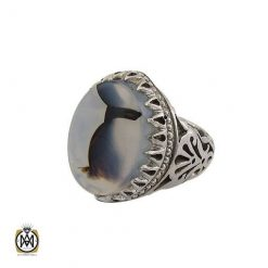 انگشتر عقیق مشکی مردانه- کد ۱۰۸۱۱