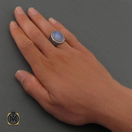 انگشتر عقیق یمن کبود خوش رنگ مردانه – کد ۱۱۰۵۰