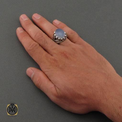 انگشتر عقیق کبود یمن مرغوب و برلیان اصل دست ساز مردانه – کد ۱۱۱۳۵