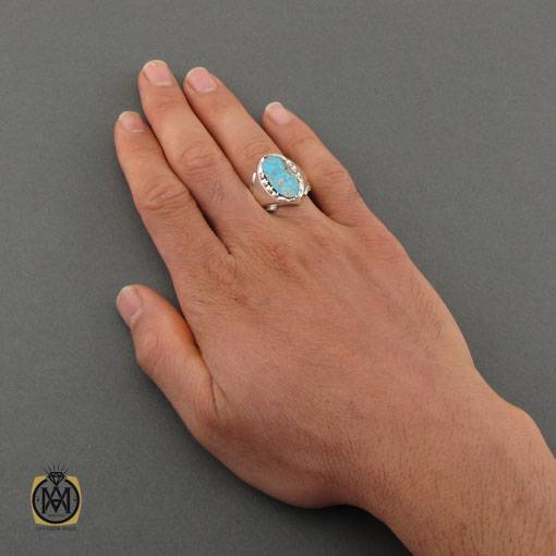 انگشتر فیروزه نیشابوری خوش رنگ مردانه دست ساز – کد ۱۱۰۰۵