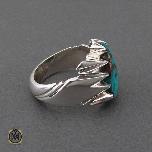 انگشتر فیروزه نیشابوری اشکی مرغوب مردانه دست ساز – کد ۱۰۹۹۴