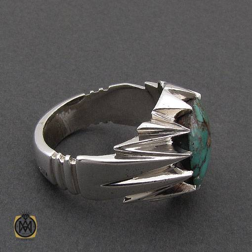 انگشتر فیروزه نیشابوری خوش رنگ مردانه دست ساز – کد ۱۱۰۱۹