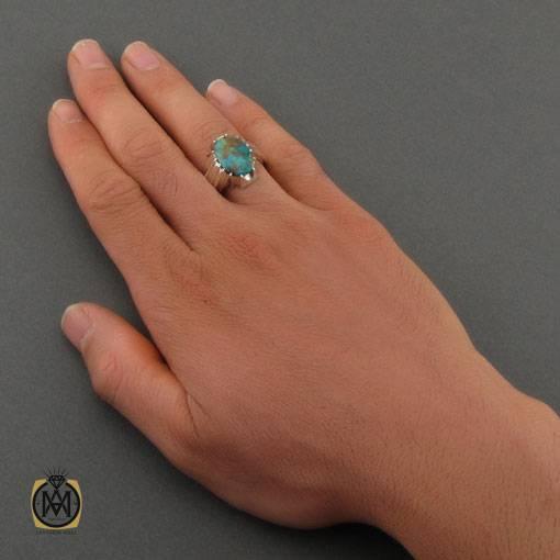 انگشتر فیروزه نیشابوری مرغوب مردانه دست ساز – کد ۱۱۰۲۱