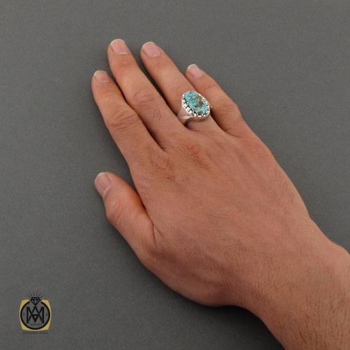 انگشتر فیروزه نیشابوری مرغوب و خوش طبع مردانه دست ساز – کد ۱۱۰۱۷