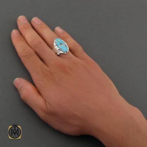 انگشتر فیروزه نیشابوری خوش طبع مردانه دست ساز – کد ۱۱۰۲۶