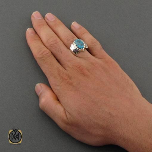 انگشتر فیروزه نیشابوری خوش نقش و مرغوب مردانه دست ساز – کد ۱۱۰۳۳