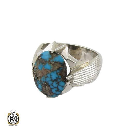 انگشتر فیروزه نیشابوری خوش رنگ مردانه دست ساز – کد ۱۱۰۰۲